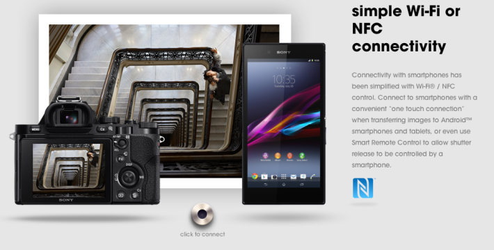 Sony a7 camera with NFC